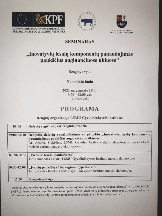 LSMU Gyvulininkystės institutas nemokami seminarai